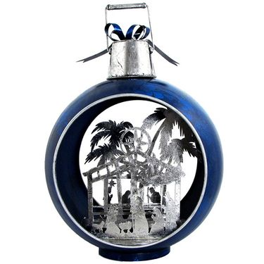 Large Iron Christmas Ornament w/Nativity Scene & LED Lights - Blue/silver - Click to enlarge