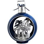 Large Iron Christmas Ornament w/Nativity Scene & LED Lights - Blue/silver