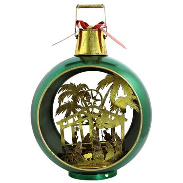 Large Iron Christmas Ornament w/Nativity Scene & LED Lights - Green/Gold - Click to enlarge
