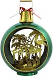 Large Iron Christmas Ornament w/Nativity Scene & LED Lights - Green/Gold