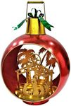 Large Iron Christmas Ornament w/Nativity Scene & LED Lights - Red/Gold