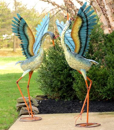 Large Iron Dancing Cranes (Set of 2) - Click to enlarge