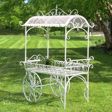 Large Iron Flower Cart w/Roof - Click to enlarge