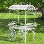 Large Iron Flower Cart w/Roof