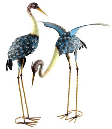 Large Iron Paradise Blue Cranes (Set of 2) - Click to enlarge