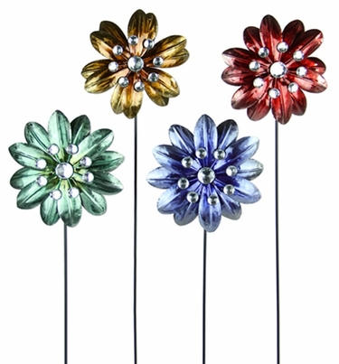 Small Metallic Flower Stakes (Set of 4) - Click to enlarge
