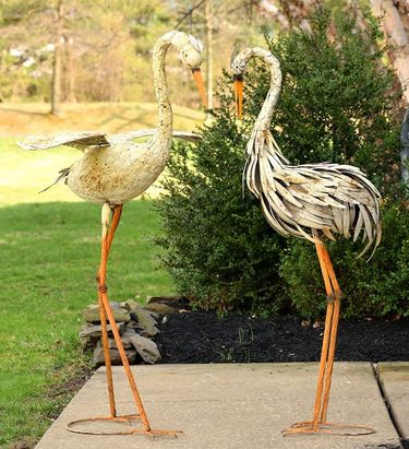 Large Rusty Dancing Herons (Set of 2) - Click to enlarge