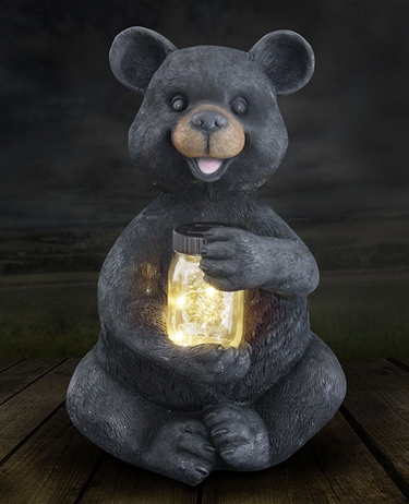 Large Solar Bear w/Jar of Fireflies - Click to enlarge
