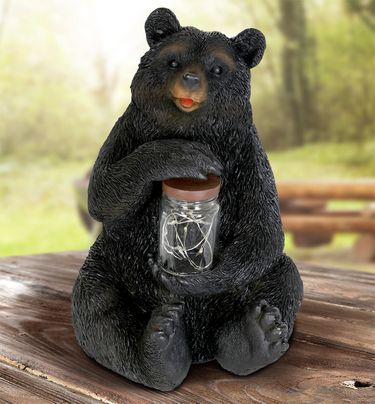 Solar Grizzly Bear w/Jar of Fireflies - Click to enlarge