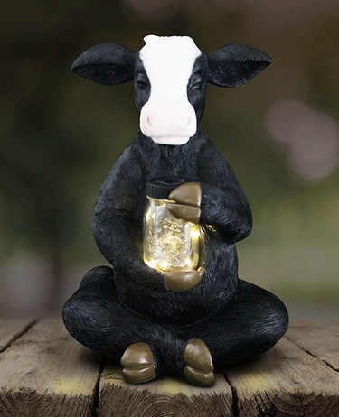 Large Solar Cow w/Jar of Fireflies - Click to enlarge