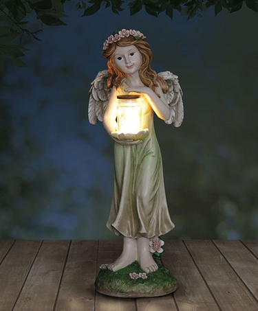 Large Solar Fairy Statue w/Jar of LED Fireflies - Click to enlarge