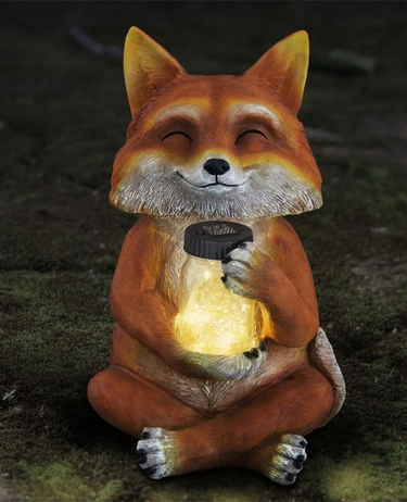 Large Solar Fox w/Jar of Fireflies - Click to enlarge