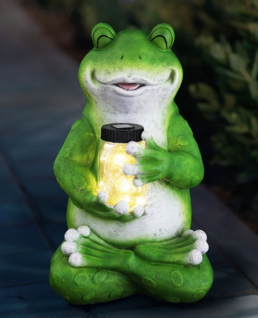 Large Solar Frog w/Jar of Fireflies - Click to enlarge