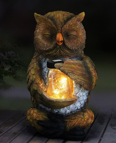 Large Solar Owl w/Jar of Fireflies - Click to enlarge