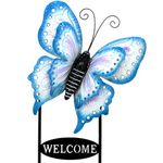 Large Welcome Butterfly Sign - Blue & Cream