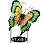Large Welcome Butterfly Sign - Green, Yellow & Pink