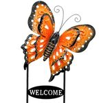 Large Welcome Butterfly Sign - Orange, Black & White