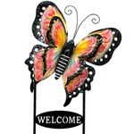 Large Welcome Butterfly Sign - Pink & Yellow