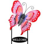 Large Welcome Butterfly Sign - Red & Pink