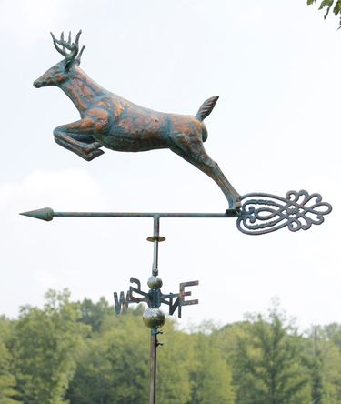 Leaping Deer Weathervane - Copper Patina - Click to enlarge