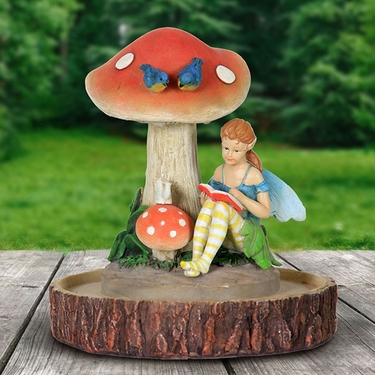 LED Fairy Statue Reading w/Timer - Click to enlarge