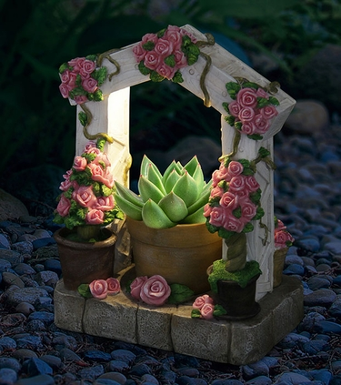 LED Pink Flower Trellis Planter w/Timer - Click to enlarge