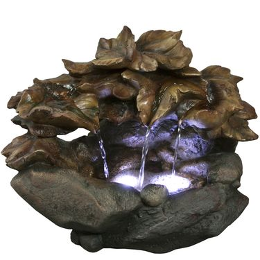 Rainforest Leaves Tabletop Fountain w/LED Lights - Click to enlarge