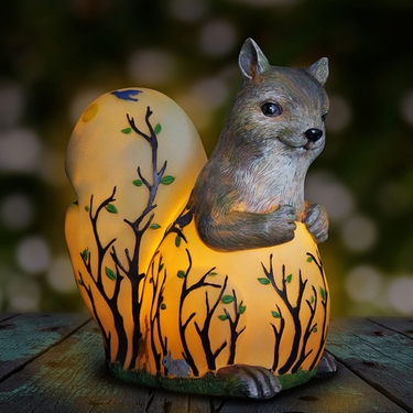 LED Squirrel Statue w/Forest  Silhouette - Battery Powered - Click to enlarge