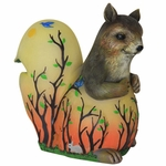 LED Squirrel Statue w/Forest  Silhouette - Battery Powered