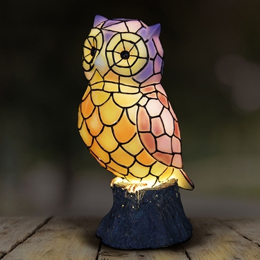 LED Tiffany Owl Statue - Battery Powered - Click to enlarge