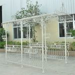 Long Iron Garden Gazebo w/Planters - Antique White