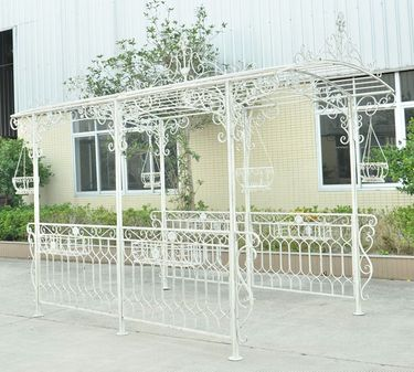Long Iron Garden Gazebo w/Planters - Antique White - Click to enlarge