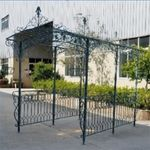 Long Iron Garden Gazebo w/Planters - Light Blue
