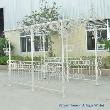 Long Iron Garden Gazebo w/Planters - Light Blue - Click to enlarge