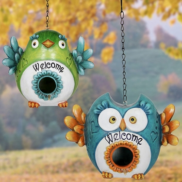 Love Birds Welcome Bird Houses (Set of 2) - Click to enlarge