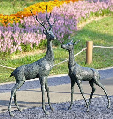 Majestic Woodland Deer Sculptures (Set of 2) - Click to enlarge