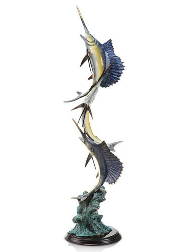 Marlin & Sailfish Seascape Sculpture - Click to enlarge