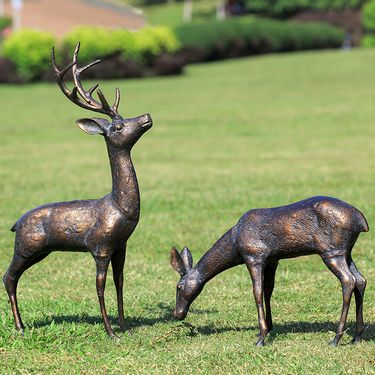 Meadow Wandering Deer Sculptures (Set of 2) - Click to enlarge