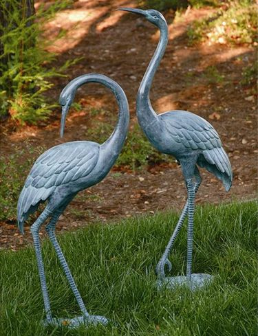 Medium Brass Garden Cranes (Set of 2) - Click to enlarge