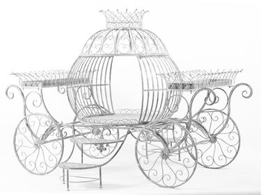 Medium Cinderella Carriage Flower Stand - Antique White - Click to enlarge