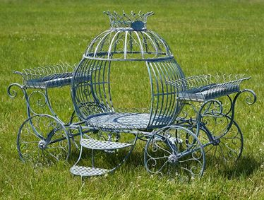 Medium Cinderella Carriage Flower Stand - Frosted Blue - Click to enlarge
