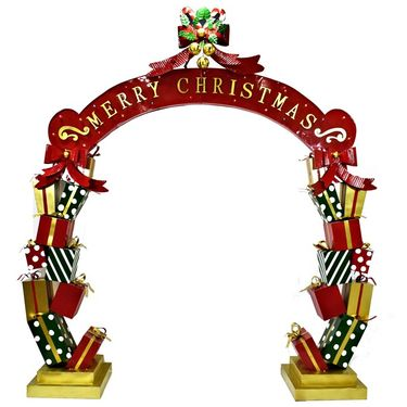 Merry Christmas Iron Archway w/Presents & LED Lights - Click to enlarge