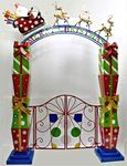 Merry Christmas Iron Garden Gate w/Santa Sleigh, Reindeer & LED Lights