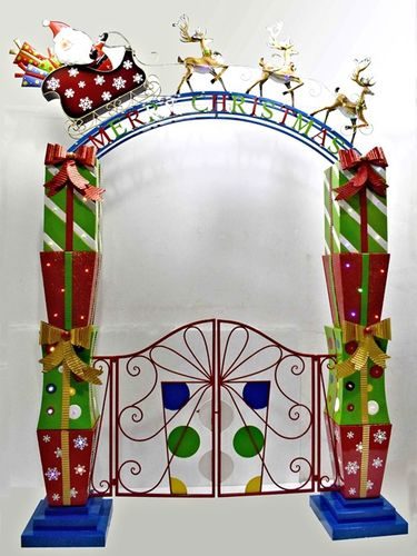 Merry Christmas Iron Garden Gate w/Santa Sleigh, Reindeer & LED Lights - Click to enlarge