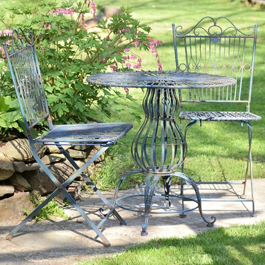Metal Bistro Set - Cobalt Blue - Click to enlarge