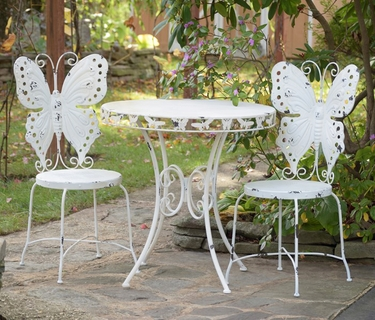 Metal Butterfly Bistro Set - Antique White - Click to enlarge