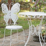 Metal Butterfly Bistro Set - Antique White