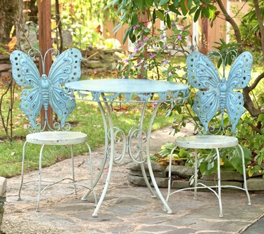 Metal Butterfly Bistro Set - Frosted Blue - Click to enlarge
