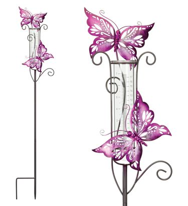 Metal Butterfly Rain Gauge Stakes (Set of 2) - Click to enlarge