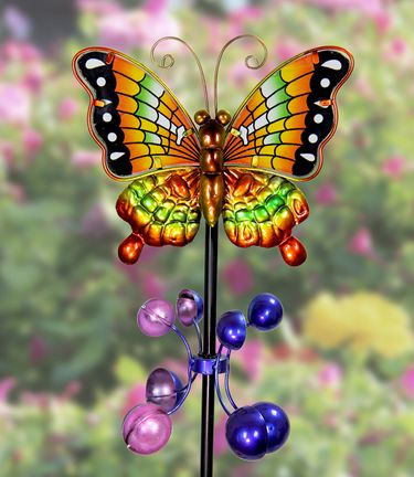 Metal Butterfly Wind Spinner - Orange - Click to enlarge